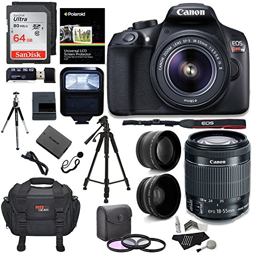 Canon EOS Rebel T6 Digital SLR Camera Kit + EF-S 18-55mm f/3.5-5.6 IS II Lens + Pro .58x & 2.2x Lenses + Sandisk 64GB Memory + 48″ Tripod + Ritz Gear Case + Polaroid Accessory Bundle