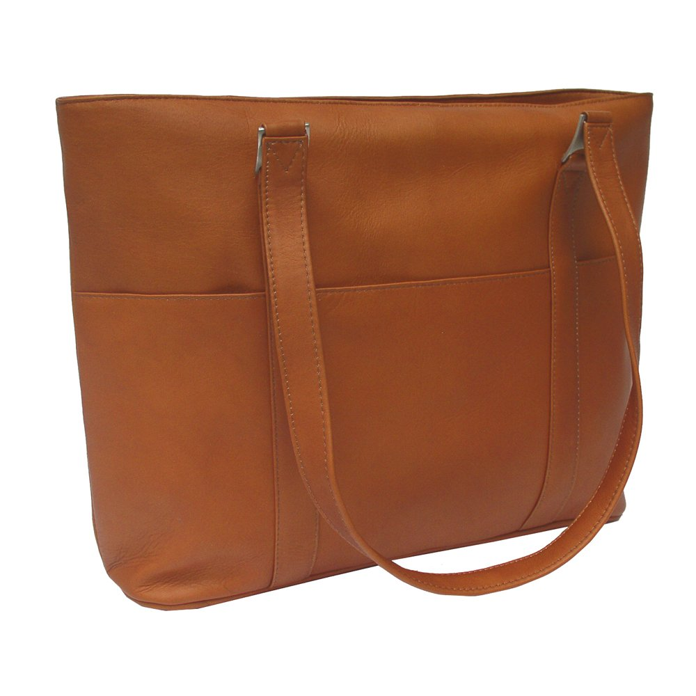 Piel Leather Computer Tote Bag, Saddle, One Size by Piel Leather (Image #2)
