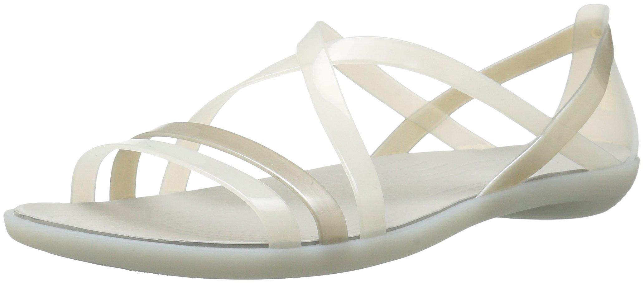 Crocs Women's Isabella Strappy W Flat Sandal, Oyster/Pearl White, 7 M US