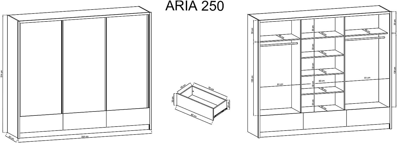 ARIA - Armario con 3 puertas correderas con acabado mate de alto brillo, 250 cm de ancho, color roble sonoma, color blanco brillante: Amazon.es: Hogar