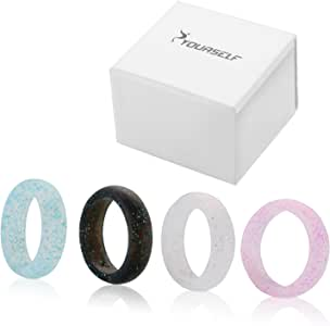 SYOURSELF Silicone Wedding Ring Band for Men or Women-4 or 6 Pack-Safe Flexible Comfortable Medical Grade Love Rings- Fit for Sports, Outdoors+Gift Box