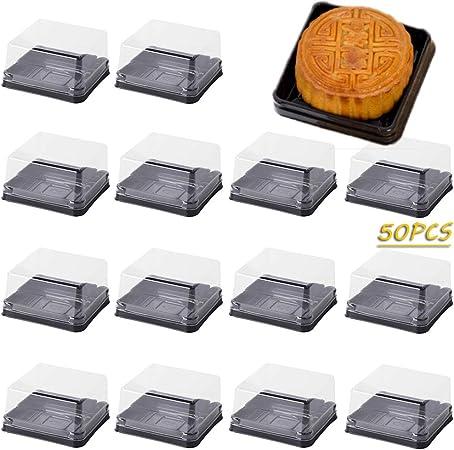 X-BLTU 50PCS 2 Pulgadas de Mini Portatartas con Tapa,Mini Caja de Regalo de Cumpleaños para Bodas, Caja de Pastel,Recipiente para Conservar y Transportar Tartas (Cuadrado Negro): Amazon.es: Hogar