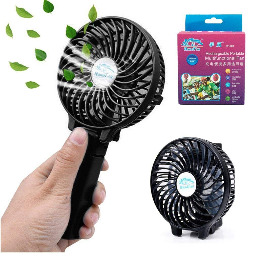 Mini Fan Battery Operated, Kingcenton Handheld Portable Foldable 4 Inch Fan with Clip for Stroller - 2000mAh Rechargeable Battery, 3 Speeds Adjustable for Home, Office and Travel (Black) by Kingcenton (Image #9)