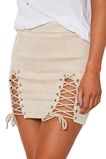 d94ab012fe Meyeeka Womens Sexy Criss Cross Bodycon High Waist Faux Suede Mini Skirt  Beige S