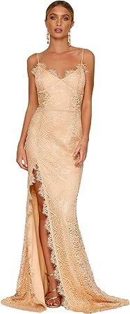 Moda floral lace Sleeveless long maxi dress. Backless. High side slit.,S: Contorno de busto 82cm, Co