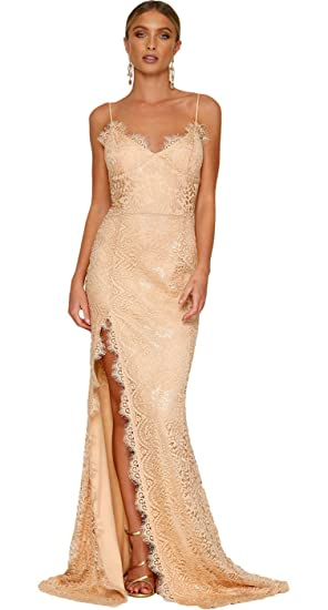 Arctic Cubic Spaghetti Strap Lace Overlay High Side Slit Empire