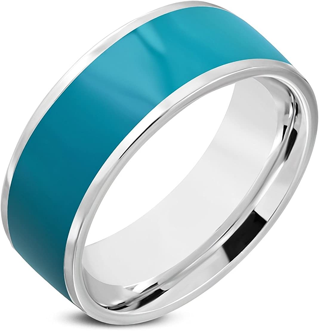 Stainless Steel 2 Color Blue Green Enameled Comfort Fit Flat Band Ring
