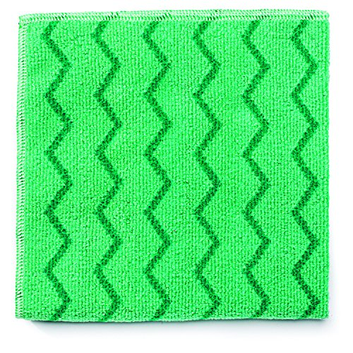 Rubbermaid Commercial Reusable Cleaning Cloths, Microfiber, 16-Inch x 16-Inch, Green (FGQ62000GR00)