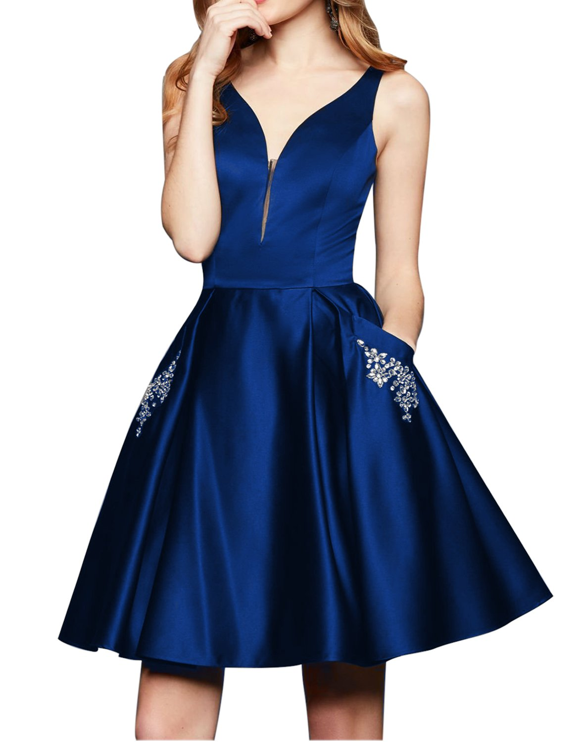 HONGFUYU V-Neck Homecoming Dresses Satin with Beaded Pockets Short Cocktail Prom Dresses HFY216-Royal Blue-US4