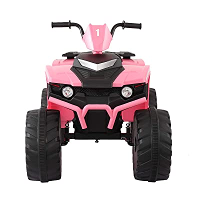 JAXPETY 12V Ride On Car Powered Electric Car with Foot Pedal Accelerator,LED Headlights,4 Big Wheels (Pink): Toys & Games