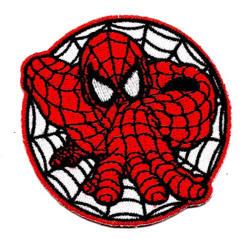 Spider-man w spider web climbing Embroidered Iron On/Sew On Patch Applique