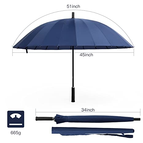 Paraguas de Gran tamaño a Prueba de Viento al Aire Libre 24 de Hueso: Amazon.es: Equipaje