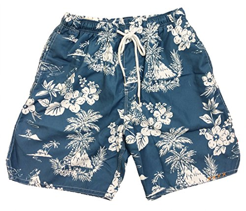 True Grit Mens Outrigger Drawstring Board Shorts-Blue-xxl