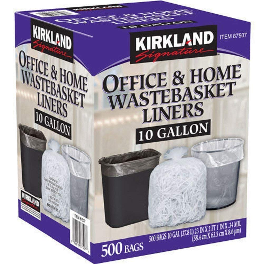 Kirkland Signature 10 Gallon Clear Wastebasket Liners Bags 500 Count- 2 Pack by Kirkland Signature (Image #1)