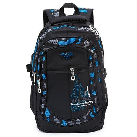 b92784f02ea5c Schulrucksack für Jungen Jugendliche Schulranzen Rucksack Schultaschen  Outdoor Freizeit Daypack (Blue)