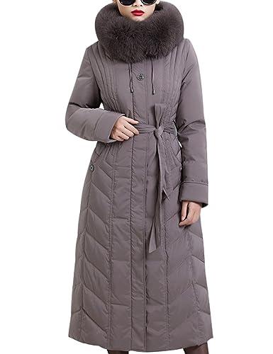 Youlee Mujeres Invierno Abajo abrigo largo con capucha de piel