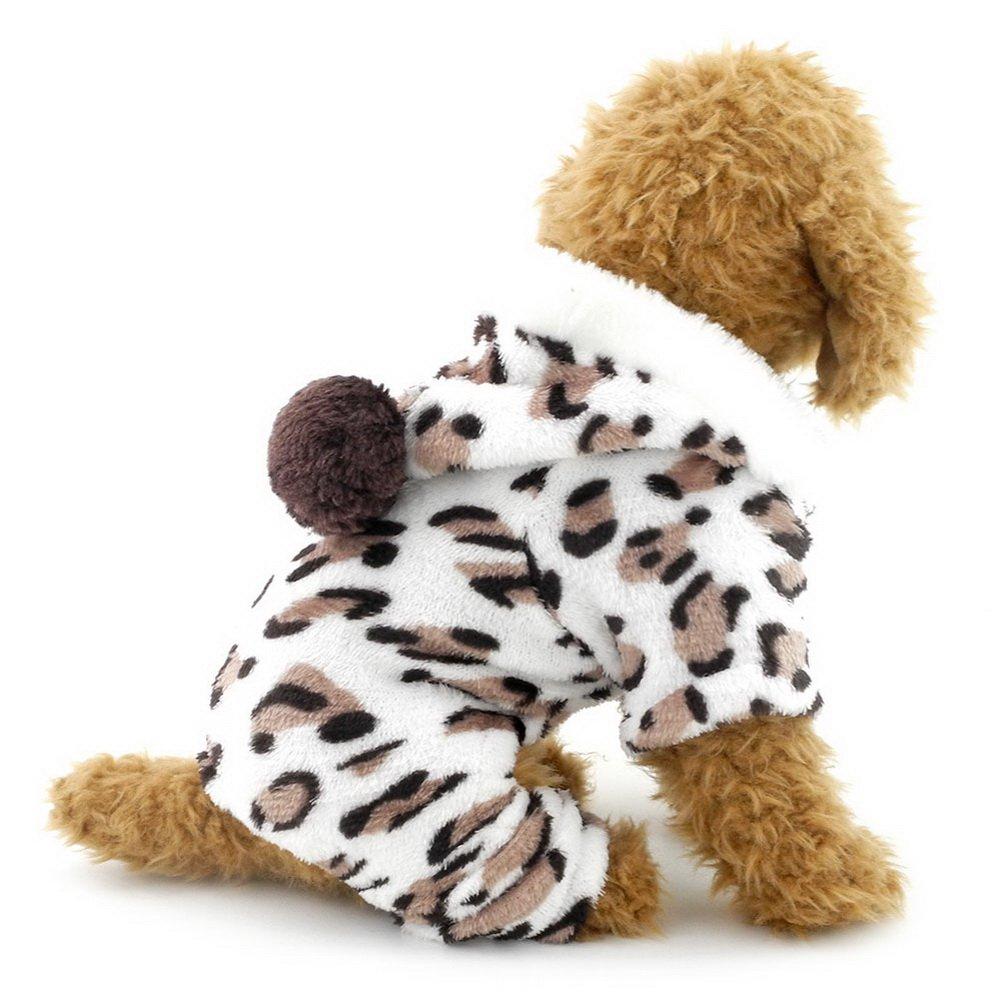Ranphy Small Dog flanella pigiami leopardo Outfits morbido velluto pigiama cane chihuahua con cappuccio four-leg tuta inverno Yorkie vestiti