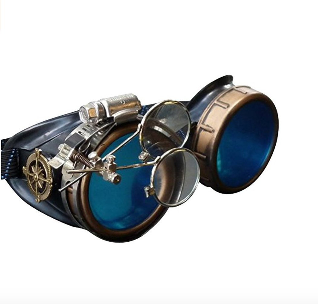 UMBRELLALABORATORY Steampunk Victorian Style Goggles with Compass Design, Colored Lenses & Ocular Loupe