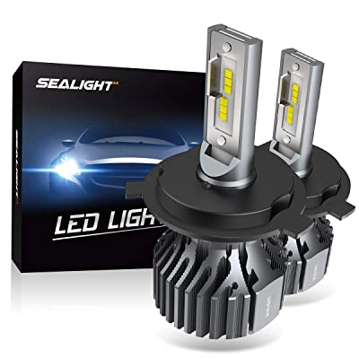 SEALIGHT H4 9003 HB2 LED Headlight Bulbs Fanless 6000K White High Low Beam CSP Chips Halogen Headlight Replacement 30W 5000Lumens: Automotive