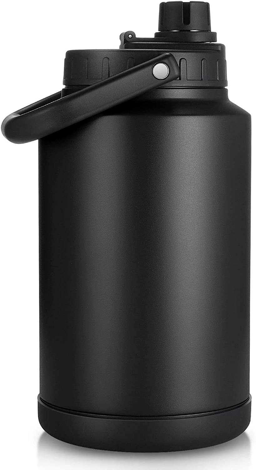 Sursip 128 Oz Water Bottle,Vacuum Insulated Stainless Steel Double Walled Water Jug,Thermos Water Bottle for Hot and Cold Drinks,Durable and Resistant Water Flask-One Gallon(Black)