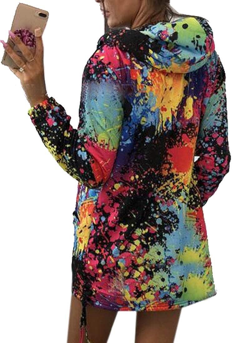 Jotebriyo Womens Coat Colorful Zip Up Print Hooded Hoodies Sweatshirt Coat Jacket