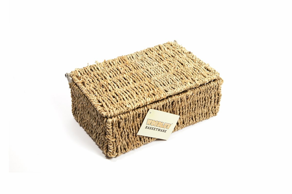 Amazon.com: WoodLuv Seagrass Storage Basket with Small Lid: Home & Kitchen