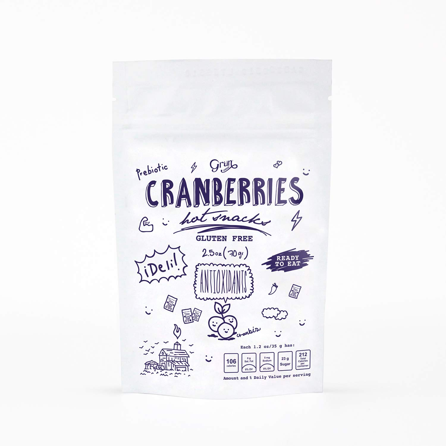 6 Pack – Hot Cranberries by Grün Choice|Chili Flavor, Powerful Superfood, Low Calorie Snacks, Agave Inulin for a Prebiotic Effect,| Nut & Gluten-Free | 70g