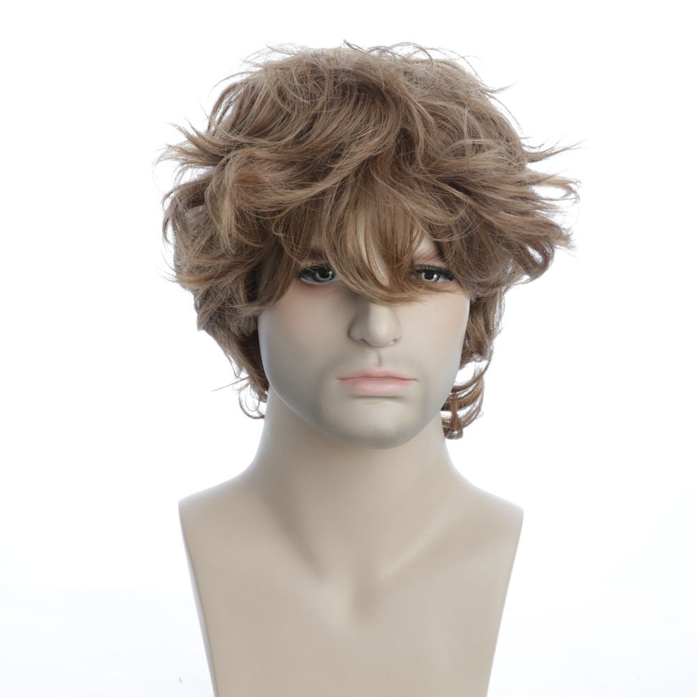 Karlery Mens Short Curly Fluffy Brown Wig with Bang Halloween Cosplay Wig Anime Costume Party Wig