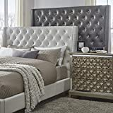 Inspire Q Aurora Faux Leatr Crystal Tufted Nailad Wingback adboard by Bold Off White Queen