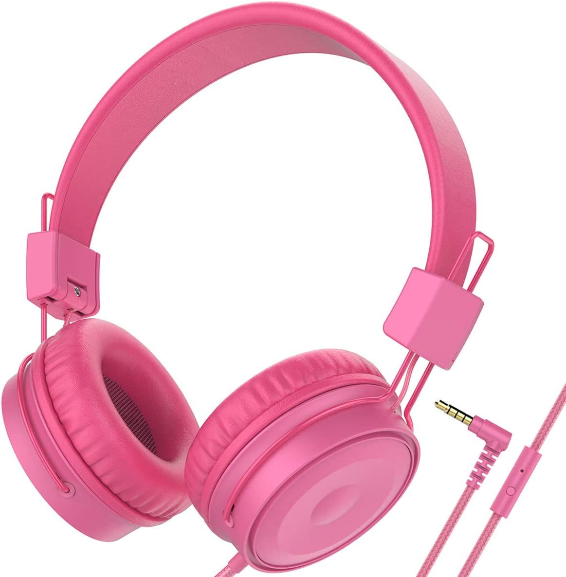 Baseman Wired Headphones Lightweight Foldable Adjustable Over Ear 3.5 mm Headphones with Microphone for Kids Boys Girls Volume Control On Ear Headset Earphone for Music TV Computer Cell Phone Pink