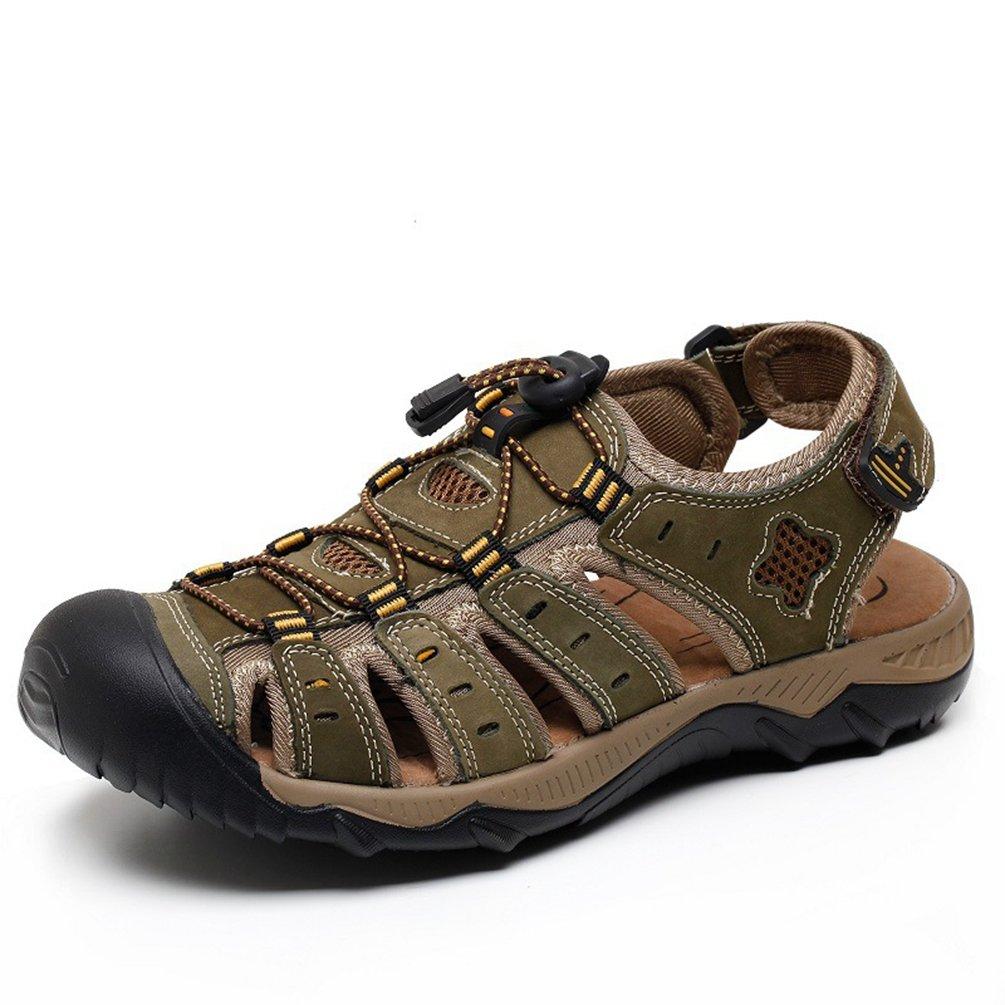 Feidaeu Herren Baotou Sandalen Schnellverschluss Entspannt Rutschfest Gemütlich Sommer Atmungsaktiv Sandaletten Grün