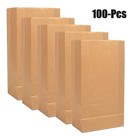 Amazon.com: funpa 100pcs Bakery bolsa Kraft bolsa de papel ...