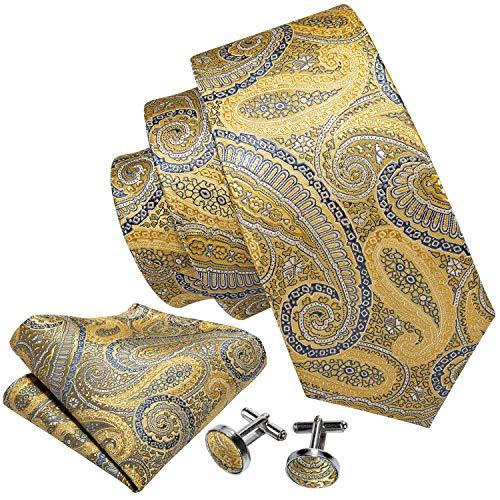 Barry.Wang Yellow Gold Ties for Men Handkerchief Cufflink Paisley