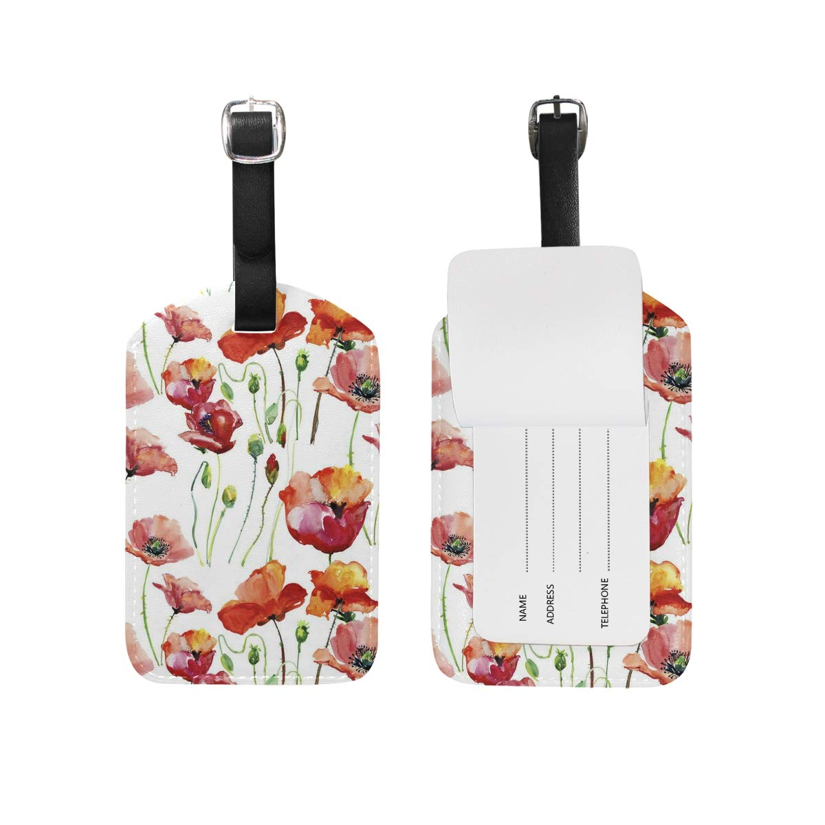 Aibileen Women Girl Cute Hand Painted Flowers Luggage Tag Travel ID Label Leather for Baggage Suitcase 1 Piece