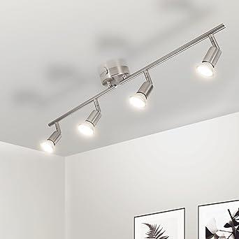 Wowatt Deckenstrahler LED 4 flammig Deckenleuchte Schwenkbar Küche  Wohnzimmer Flur Warmweiß Deckenlampe Modern Inkl. 4x 4W Spots 230V GU10  2800K ...