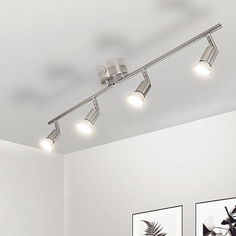Gr4tec Lámpara de techo LED Plafón con Focos Giratorios 4X Bombillas GU10 Bajo consumo 4W 230V