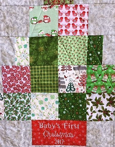 Baby's First Christmas Nursery Quilt Newborn Baby Blanket by The Best Seamstress