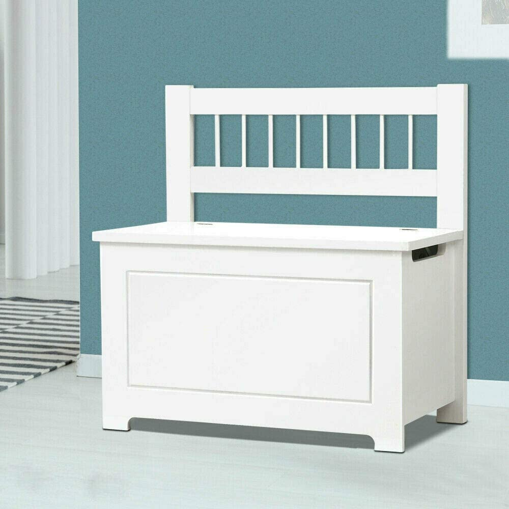 HomeZone® Large Kids White Wooden Toy Box Bench Seat With Soft Close Lid. Bedroom Storage Chest Nursery Blanket Box Ottoman Home Storage.