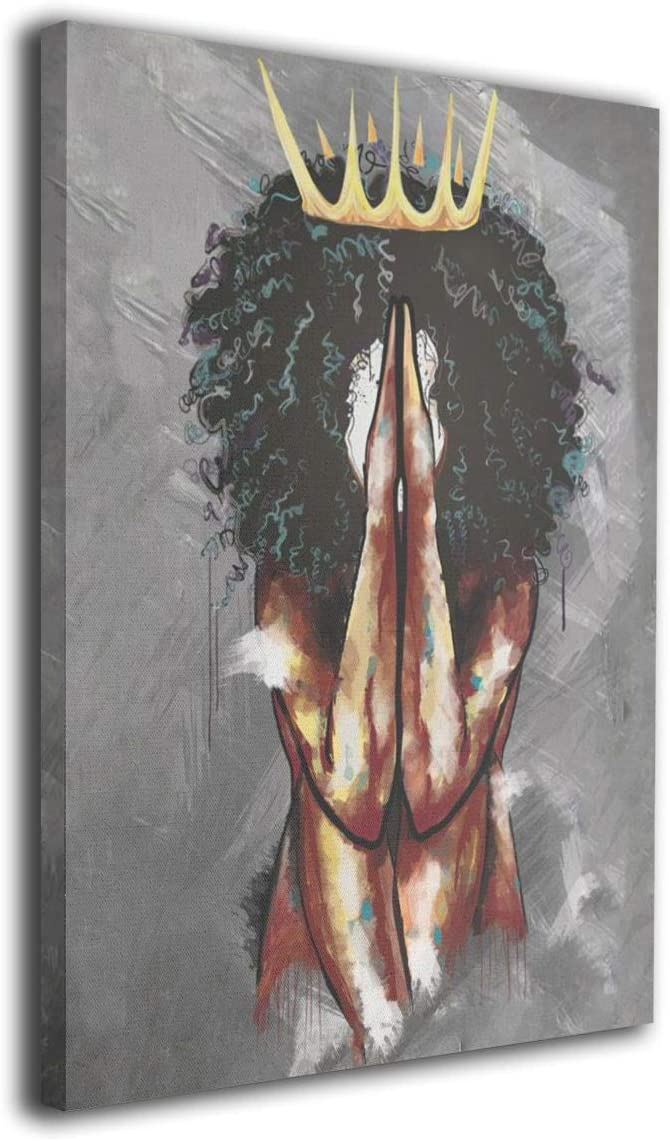 weyi African American Portrait Black Queen Girl Praying Abstract Contemporary Wall Art Black Art Canvas Giclee Matte Prints Painting 16x20inch Home Decor for Bedroom Living Room