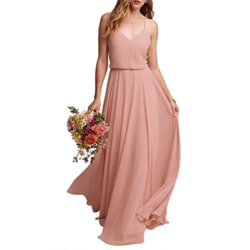 EverLove Womens Long Spaghetti Straps Prom Dress Chiffon Bridesmaid Dresses