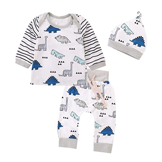 691505d2ed3fa Hatoys 3PCS Newborn Baby Girls Boy Striped Tops+Cartoon Dinosaur Pants with Cap  Clothes Outfit