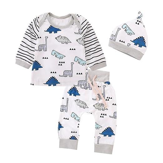 a03cf00512a22 Amazon.com: Hatoys 3PCS Newborn Baby Girls Boy Striped Tops+Cartoon ...