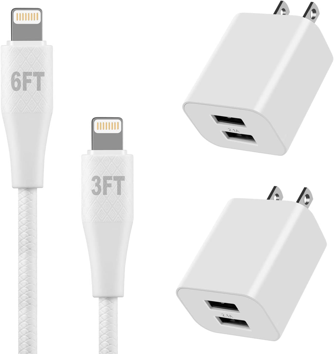 MFi Certified iPhone Charger Lightning Charging Cable 6FT+3FT with USB Wall Charger Plug 2 Pack 5V 2.1Amp Cube Dual Port Travel Power Adapter for iPhone Xs/XS Max/XR/X/8/8 Plus/7/6S/6S Plus/6/SE/iPad