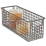 mDesign Farmhouse Decor Metal Wire Food Storage Organizer Bin Basket with Handles for Kitchen Cabinets, Pantry, Bathroom, Laundry Room, Closets, Garage - 16' x 6' x 6' - Bronze