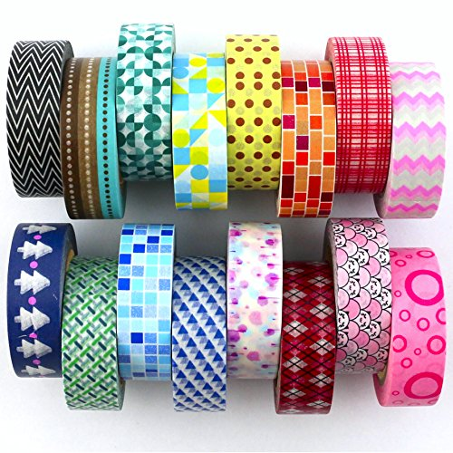 Washi Tape Set ( Exclusive set of 16 ) - New 2017 Designs - Decorative Washi Paper Tape With Colorful Designs and Patterns - Perfect For Planners, Decorating, Scrapbooking and More (Scrapbooking Lot Scrapbook Paper)