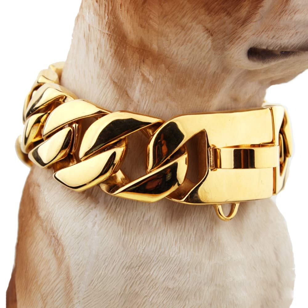 55cm 30mm Dog Collar,Stainless Steel Casting Dog Collar Large Dog Bulldog AntiBite, Durable Dog Necklace for Large Dog