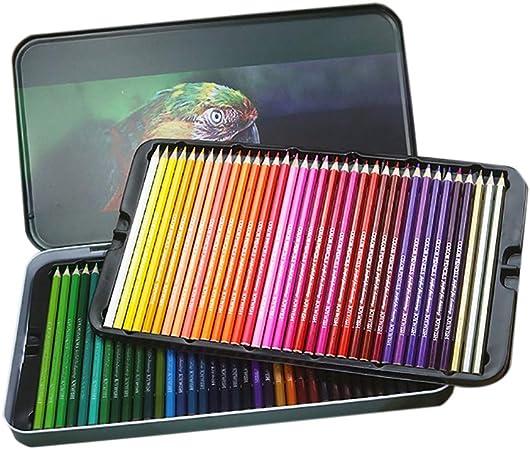 Oily - Juego de lápices de colores de 72 colores en lata de caja, para adultos/niños/profesionales, correa de artista premium con colores vibrantes y hermosos efectos de mezcla con agua: Amazon.es: Hogar
