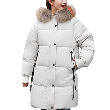 HANMAX Damen Mantel Lange Daunenmantel Daunenjacke mit