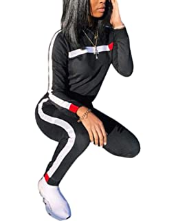 a84ee3f81fe0 Women s 2 Piece Sweatsuit - Long Sleeve Crop Top High Waist Bodycon Pants  Set Jogging Suits