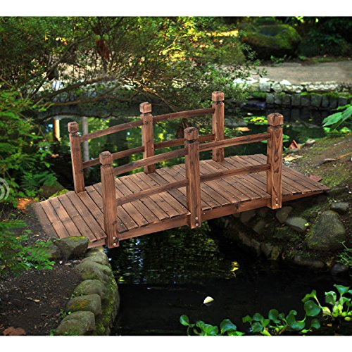 5' Wooden Bridge Stained Finish Decorative Solid Wood Garden Pond Arch Walkway by Unknown (Image #7)'